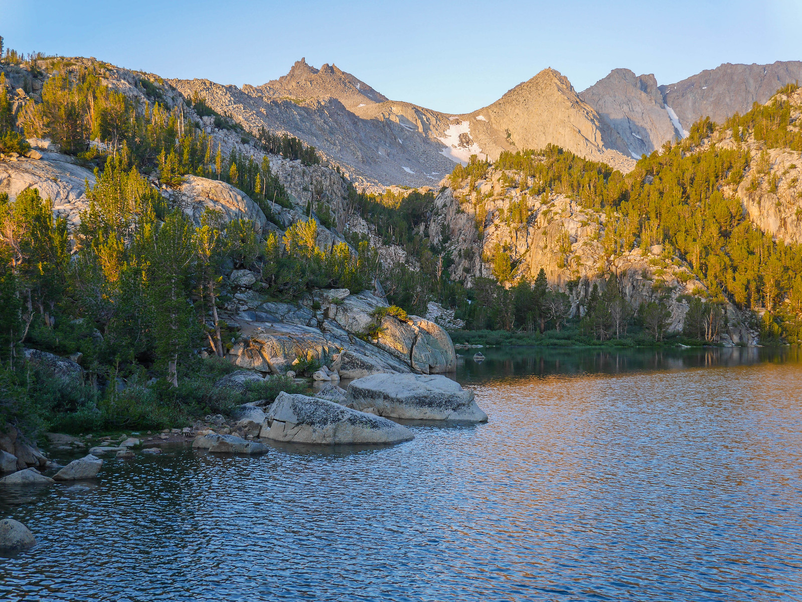 Sunrise at Lower Lamarck Lake, also a view to the high plateau that leads to Lamarck Col