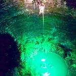 Green lit pool