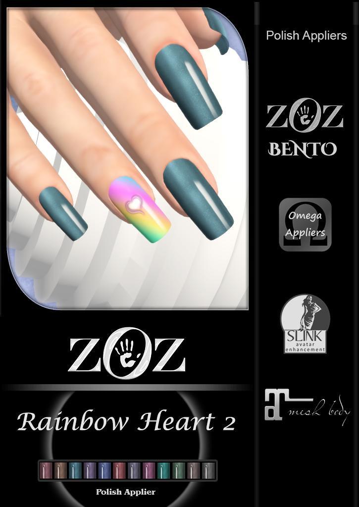 {ZOZ} Rainbow Heart 2 pix L
