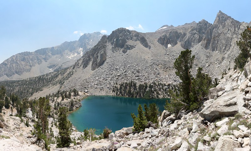 Heart Lake from the Kearsarge Pass Trail with Independence Peak on the left