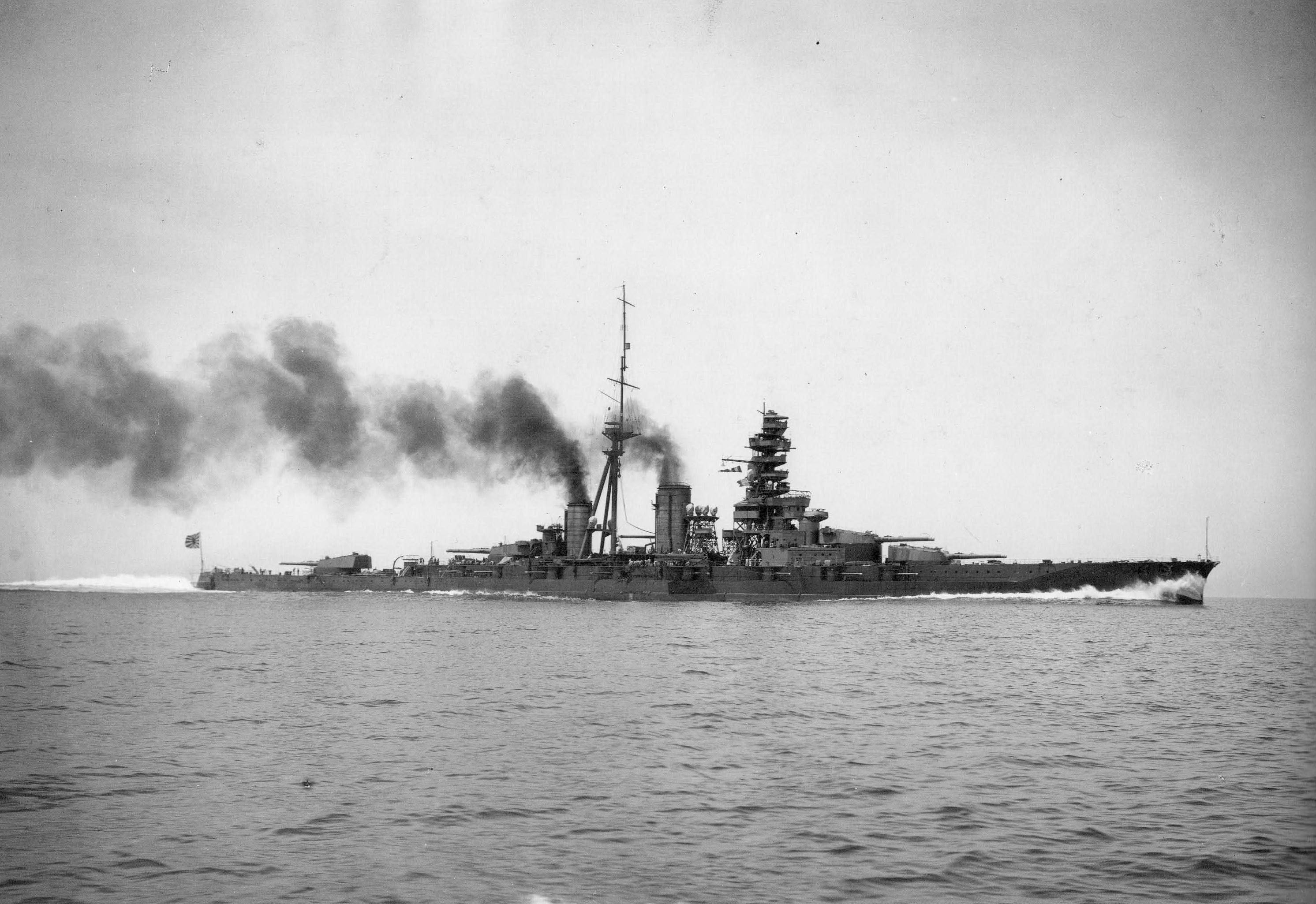 Imperial Japanese Navy battleship Haruna undergoes trials after reconfiguration from a battlecruiser to a battleship.