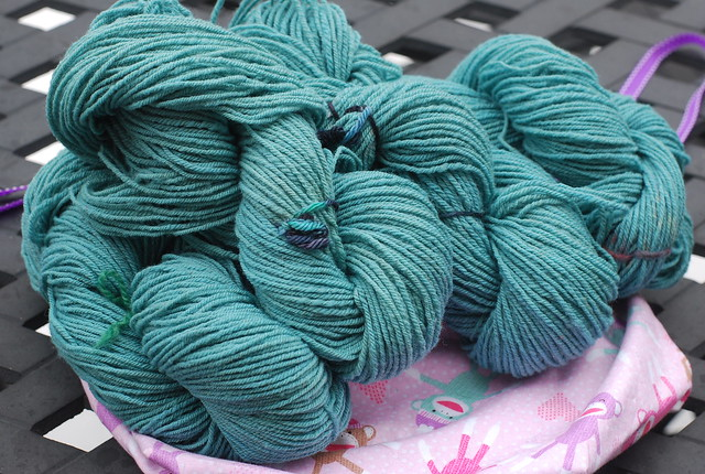 Handspun Romeldale/ CVM wool dyed with liquid indigo Saxon blue by irieknit