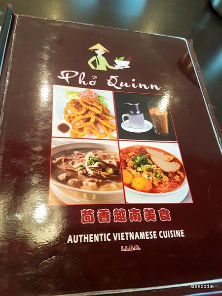 Pho Quinn Authentic Vietnamese Cuisine menu cover