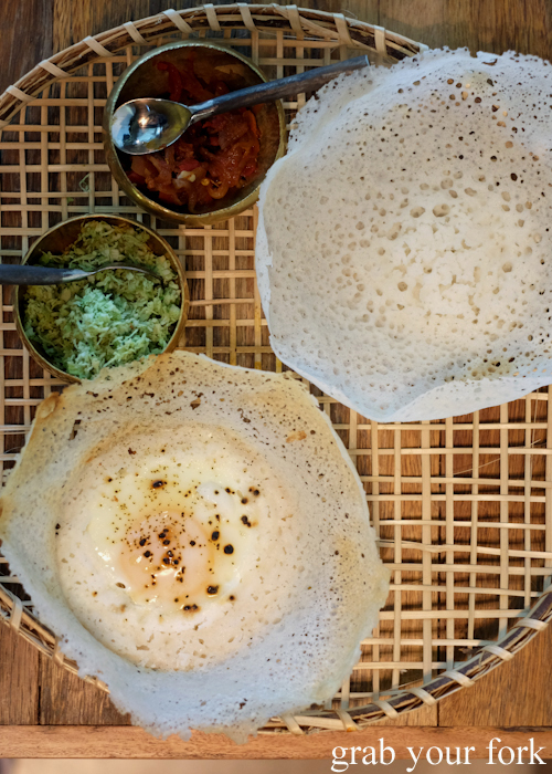 Hoppers with sambol at Lankan Filling Station by O Tama Carey in East Sydney