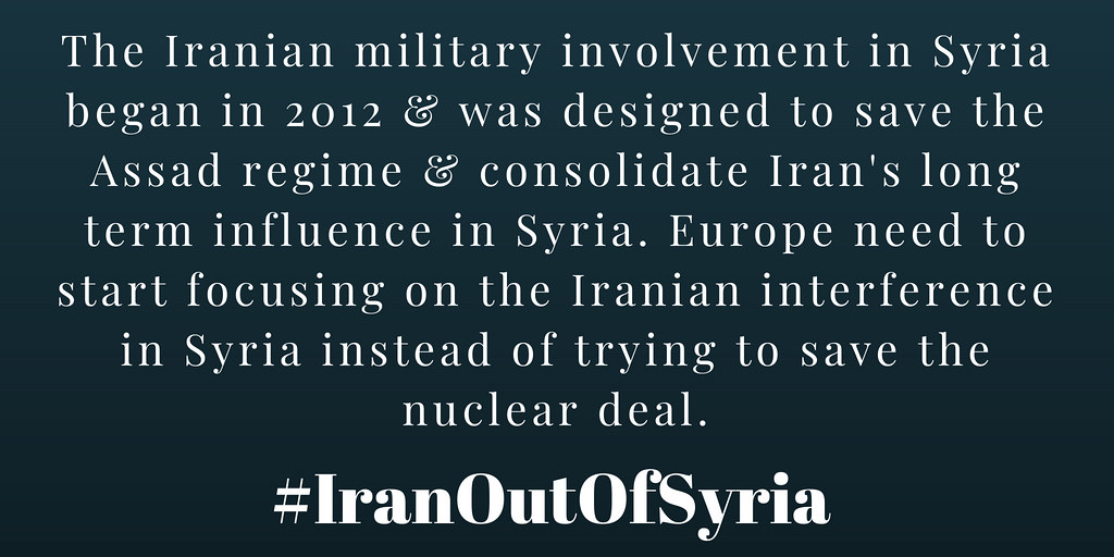 #IranOutOfSyria The Iranian military involvement in Syria began in 2012 and was designed to save the Assad regime and consolidate Iran's long term influence in Syria