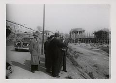 Lütfi Kırdar, Henri Prost and Fazıl Saffet Aysu at construction area of Istanbul Sports and Exhibition Hall