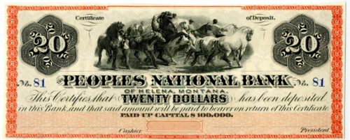 Lot 598. Peoples National Bank, of Helena, Montana, $20 CD 1870s Obsolete Banknote