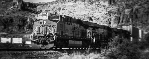 bnsf blackwhite beauty kingmancanyon landscape locomotive scenic westbound arizona