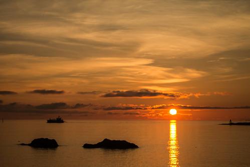 haugesund northsea norway sunset rock ship shoreline