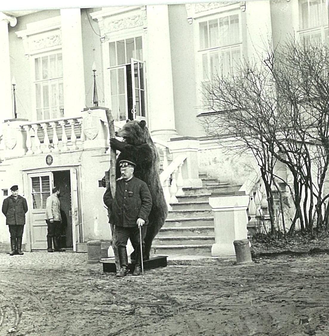 В.П.Всеволожский перед главным фасадом усадебного дома в Рябово (с чучелом медведя)