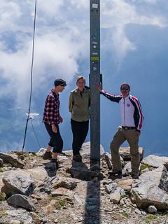 Wanderer auf dem Gipfel der Vermoispitze, 2.929 m