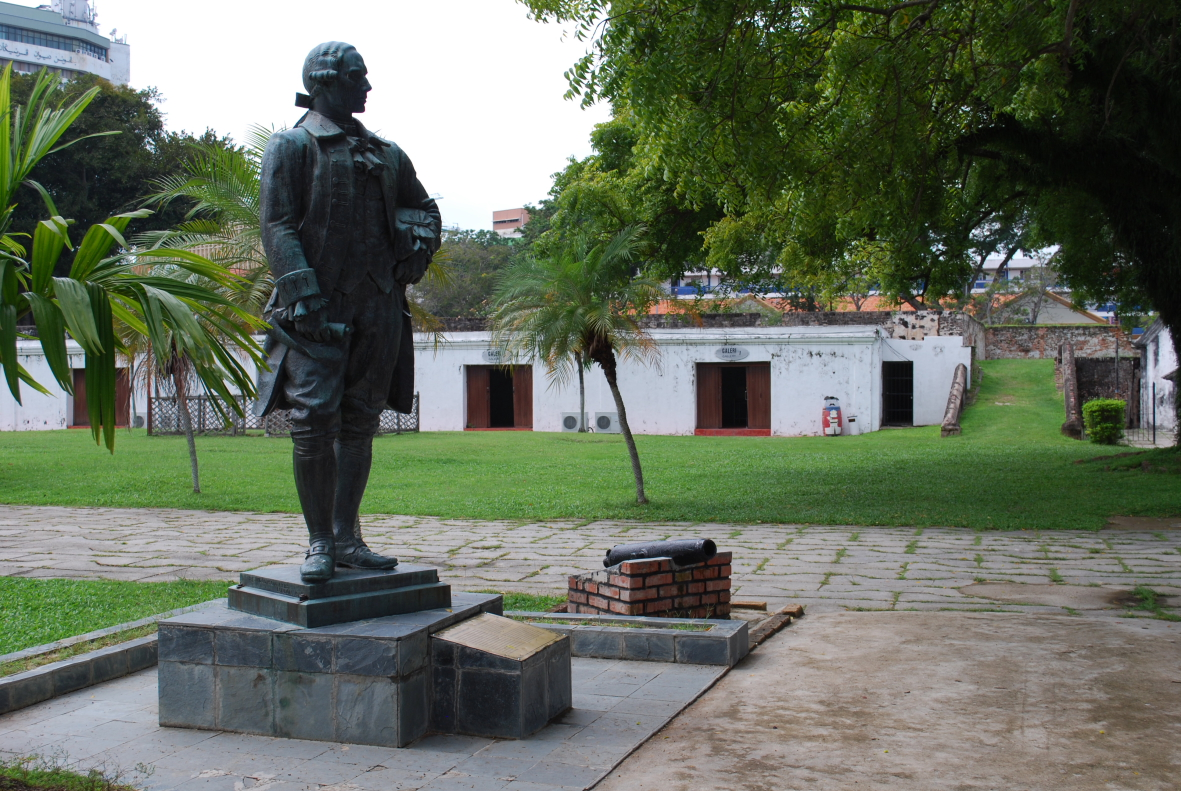Statue of Francis Light at Fort Cornwallis, George Town, Penang. Photo taken on October 9, 2009.