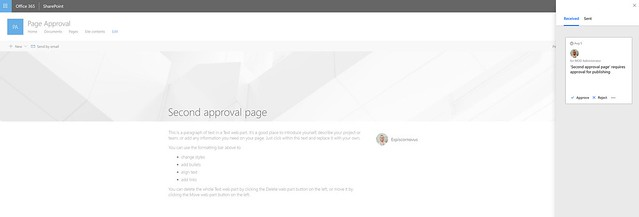 SharePoint Page Approvals - Requests side panel