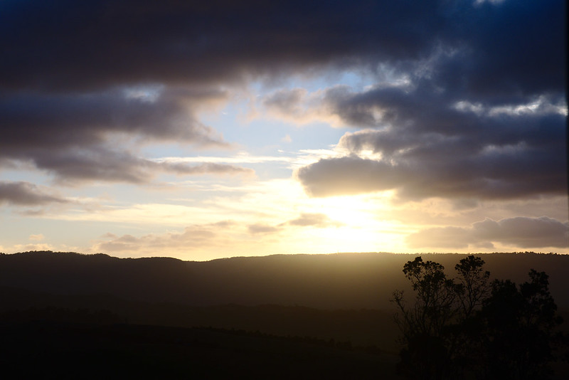Sun is risen, Blue Mountains escarpment, Kanimbla Valley