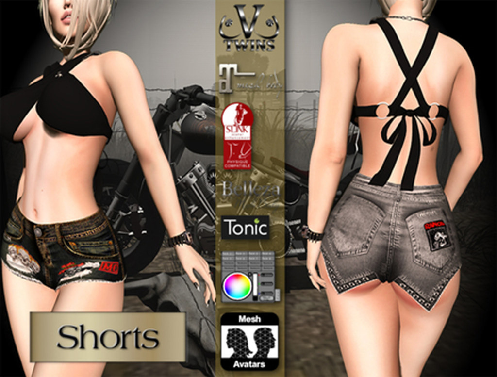 V-Twins Biker Clothes – Individual Items Mesh Shorts – Scrambled Collection (Slink Belleza & Maitreya)