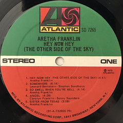 ARETHA FRANKLIN:HEY NOW HEY(THE OTHER SIDE OF THE SKY)(LABEL SIDE-A)