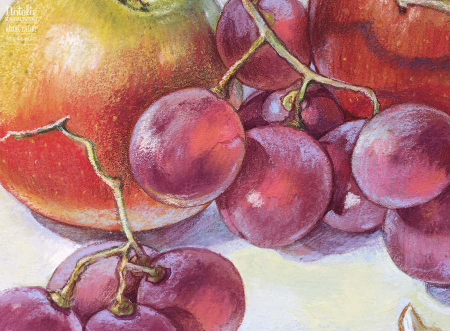 Still life with apples and grapes, detail