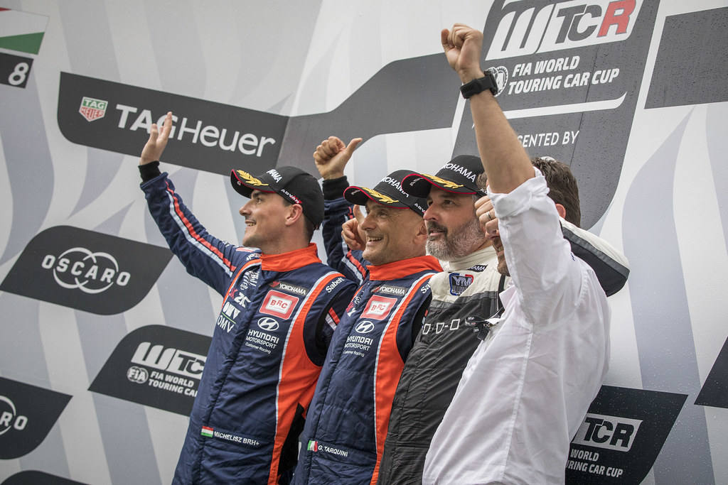 TARQUINI Gabriele (ITA), BRC Racing Team, Hyundai i30 N TCR, portrait MICHELISZ Norbert (HUN), BRC Racing Team, Hyundai i30 N TCR, portrait MULLER Yvan (FRA), YMR, Hyundai i30 N TCR, portrait podium ambiance during the 2018 FIA WTCR World Touring Car cup, Race of Hungary at hungaroring, Budapest from april 27 to 29 - Photo Gregory Lenormand / DPPI