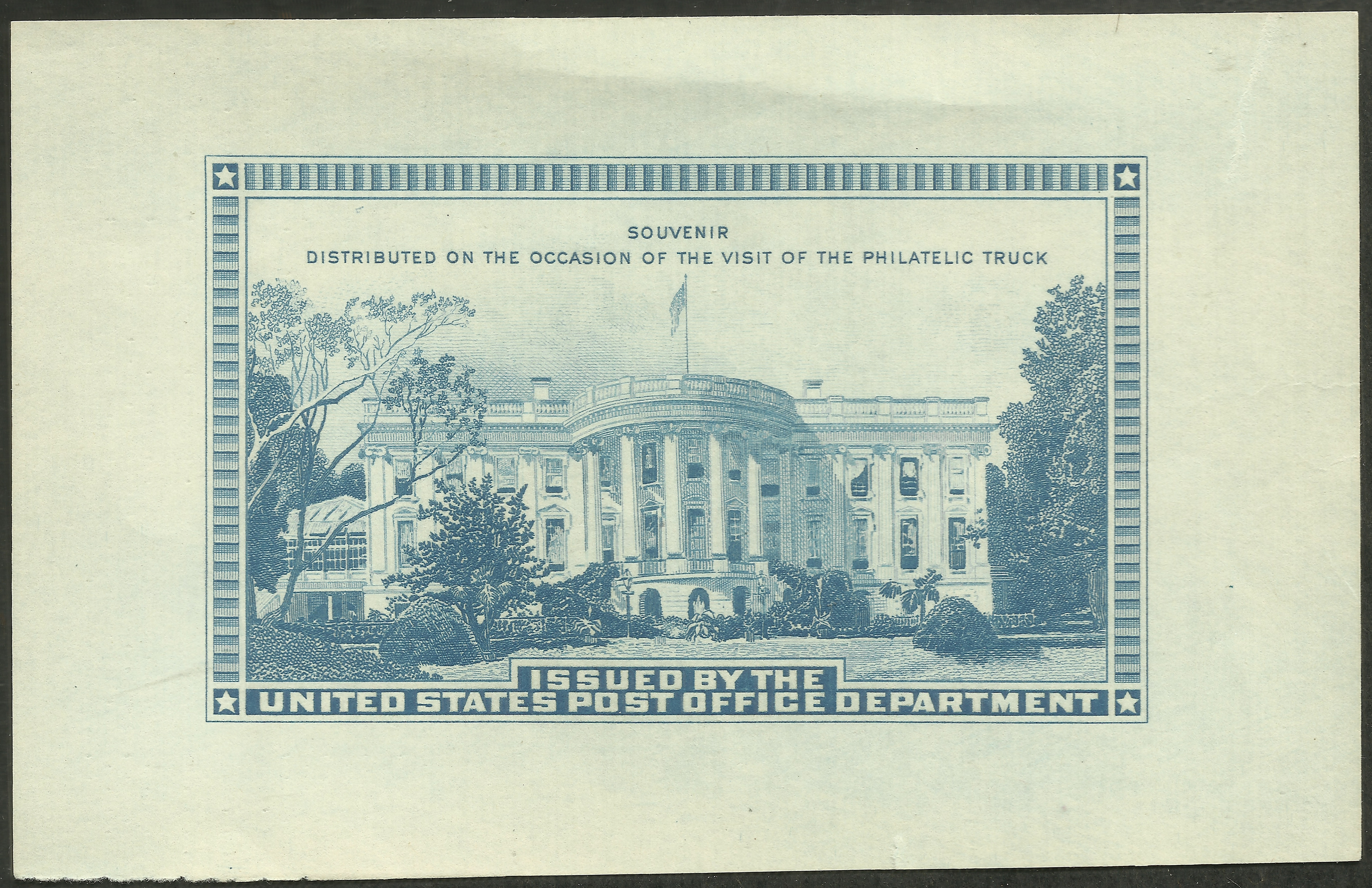 United States - BEP souvenir sheet for Philatelic Truck (1939)