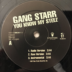 GANG STARR:YOU KNOW MY STEEZ(LABEL SIDE-A)