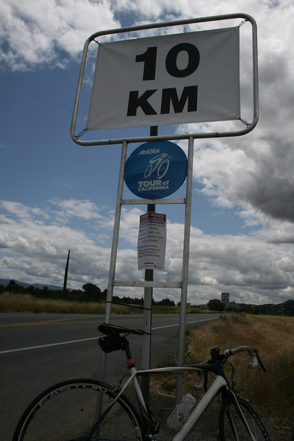 A bus stop - 10 KM to go