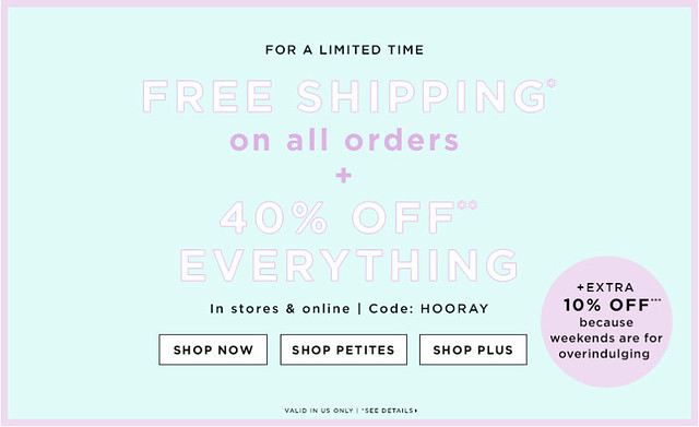 Get 40% Off Everything + Extra 10% off + FREE Shipping at LOFT