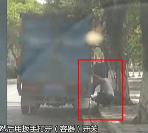 男子駕駛大貨車停路邊 竟往下水道偷排不明物體