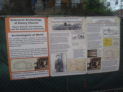 Information posted about archaeological findings at Fort Stevens, on construction fencing, DC