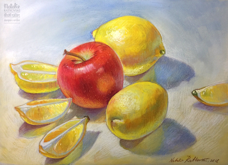 Still life with apples & lemons