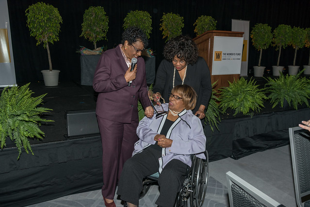 D75_1036 (Congresswoman Carrie Meek presented with the Inaugural Congresswoman Carrie Meek Impact Award by Miami-Dade County Commissioner Barbara Jordan, with Lucia Davis Raiford (Carrie's daughter)