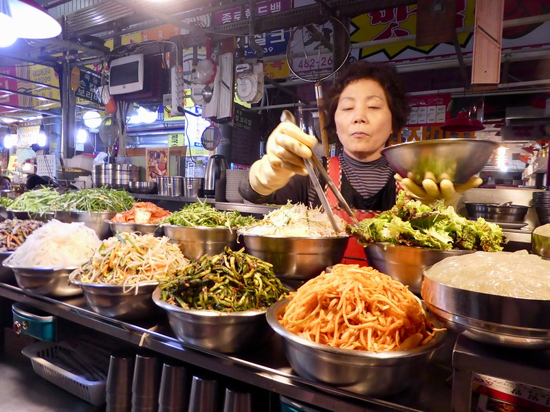 Preparing our Bibimbap at Gwangjong Market, Seoul