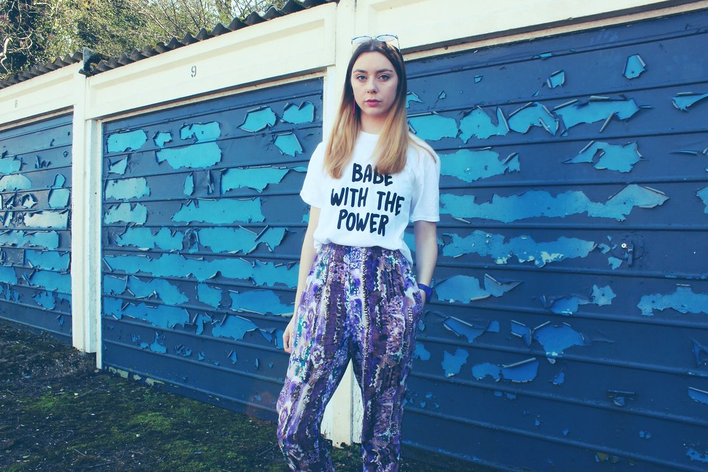 Babe with the power tshirt Nastygal and Vintage trousers 1
