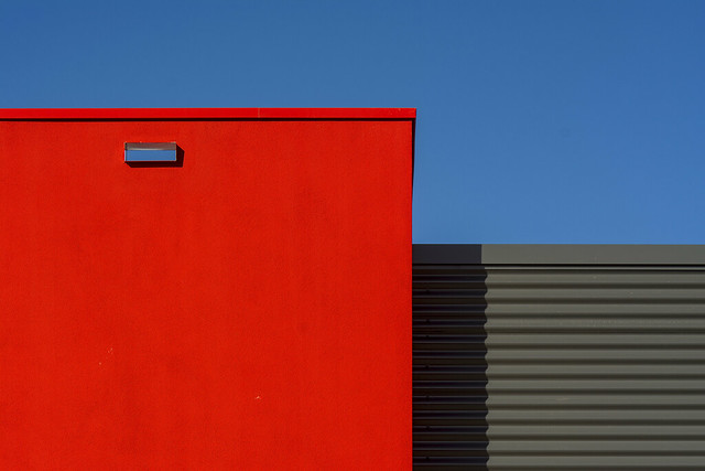 Red and grey facade