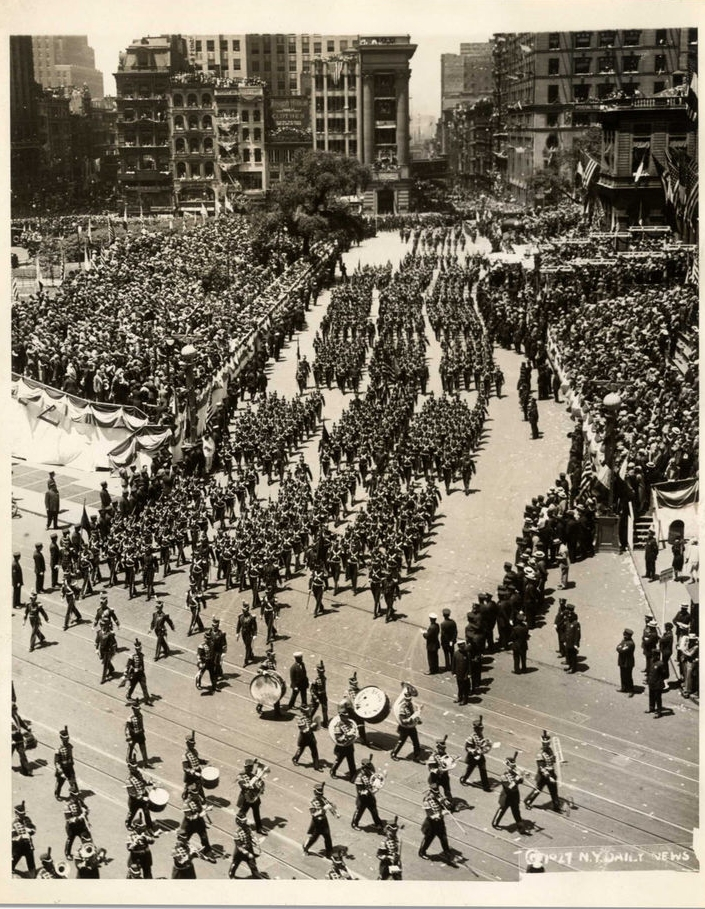 The parade through Manhattan honoring Charles Lindbergh's visit to New York City gets underway on June 13, 1927.