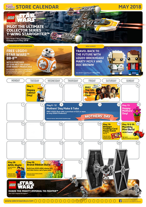 LEGO Certified Store Calendar May 2018
