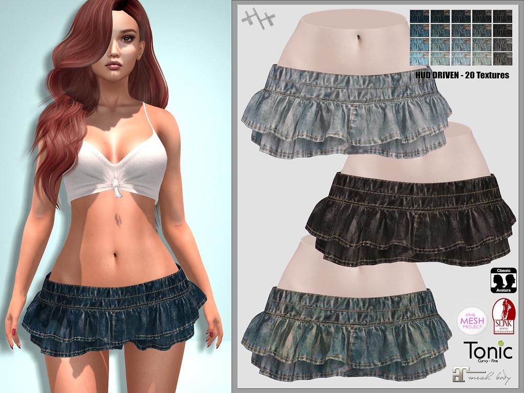 Hilly Haalan - Kylee Skirt | Kylee Ruffle Denim Skirt, HUD D