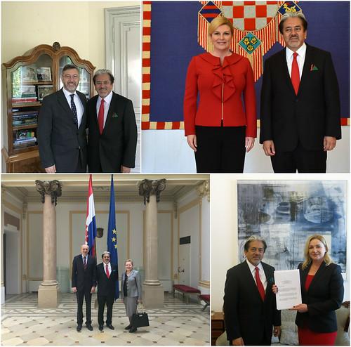 El Embajador David Renato Nájera Rivasentrega cartas credenciales a la Presidenta de Croacia