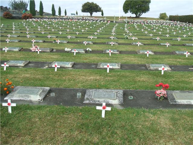Each year on Anzac Day in Te Awamutu, New Zealand the graves of War Veterans are decorated. Photo taken on April 25, 2010.