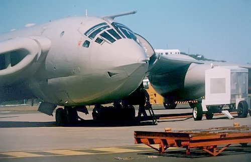 n RAF Handley Page Victor V-Bomber XM717, converted to the air-refueling tanker role, refuels itself at the Civil Air Terminal, NAS Bermuda, circa 1985. XM717 took part in the first mission of Operation Black Buck during the 1982 Falklands War, and later took part in the first Gulf War.