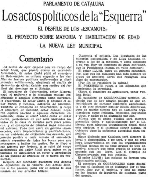 18e16 LV del 25 octubre 1933 Escamots y fascismo Uti 485
