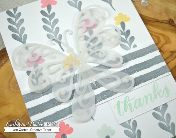 Jen Carter CP Focus on Good Eat Sleep In Flight Scroll Butterfly Closeup 1