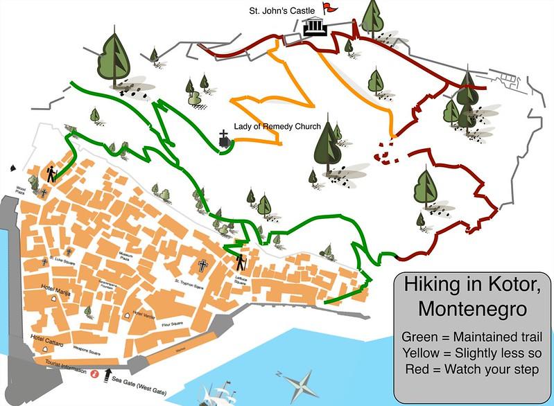 Карта пешеходных маршрутов над Котором