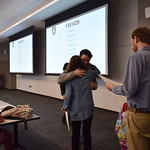 Hugs are frequent at the Outstanding Students awards event.