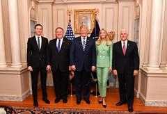 Secretary Pompeo Poses for Photo With Advisor Kushner, President Trump, Advisor Ivanka Trump and Vice President Pence