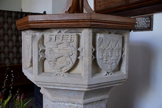 Font (15th Century): three lions of England, fleurs-de-lys of France