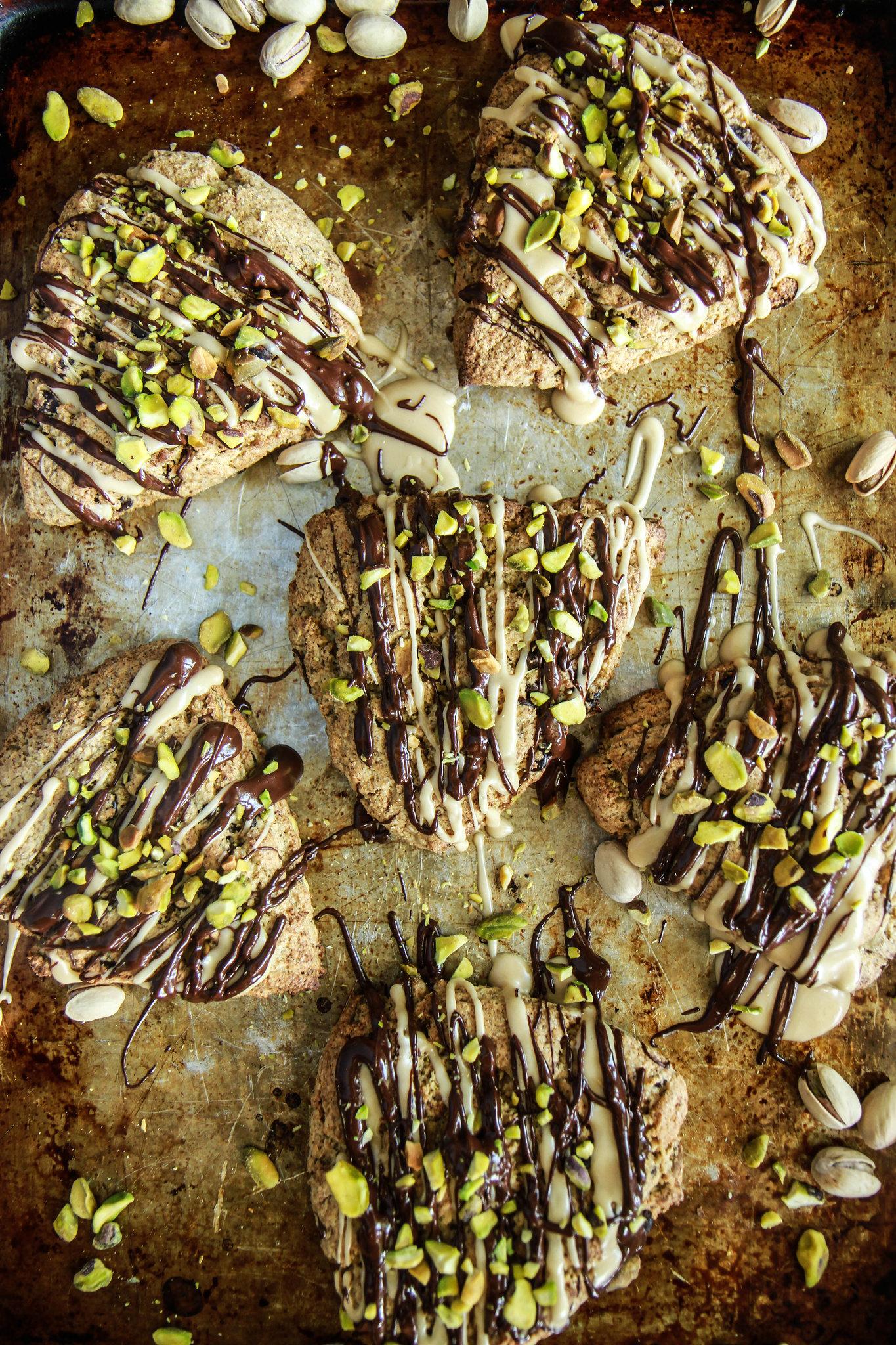 Chocolate coffee Pistachio scones- vegan and gluten free from HeatherChristo.com