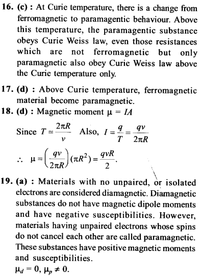NEET AIPMT Physics Chapter Wise Solutions - Magnetism and Matter explanation 16,17,18,19