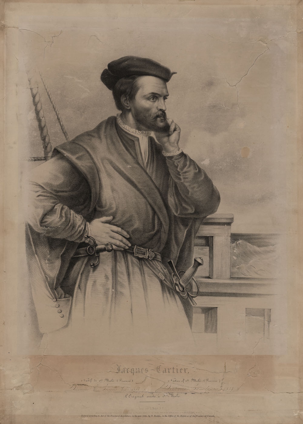 Sketch of a painting by François Riss, circa 1839. No contemporary portraits of Cartier are known.