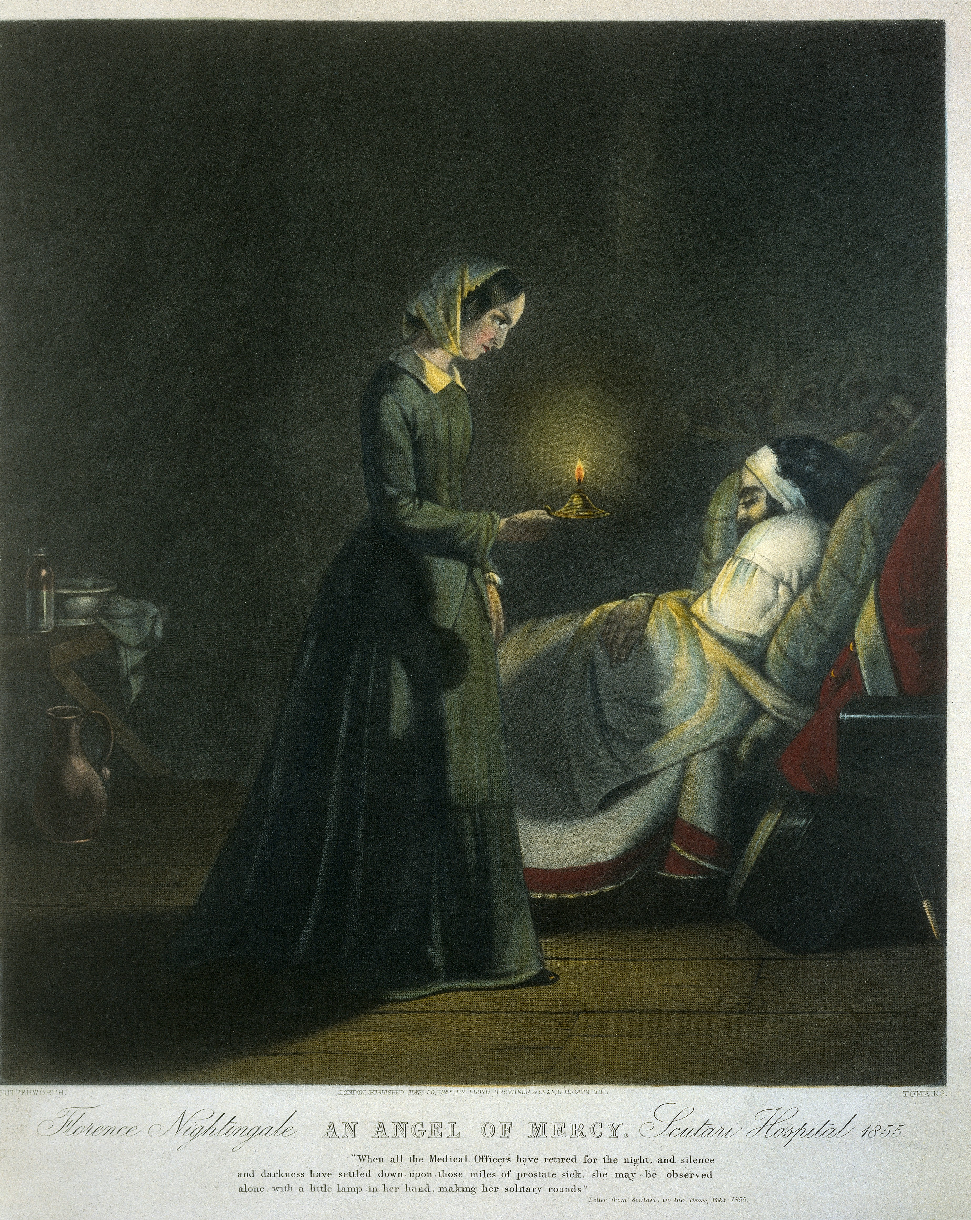 Florence Nightingale, an angel of mercy, with her candle making the night round of the wards at Scutari hospital, Ottoman Empire, during the Crimean War. Colored mezzotint, c. 1855, by Tomkins after Butterworth. Lettering reads: