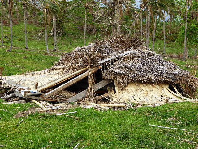 A Ni-Vanuatu traditionally constructed dwelling on Tanna Island, Vanuatu, that collapsed under the ferocious winds from cyclone Pam